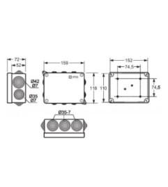 CAIXA ACQUABOX IP55/65 EM ABS (110X152X63